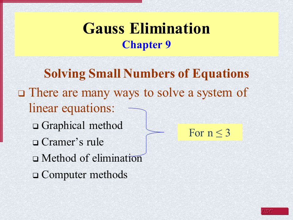Gauss Elimination Chapter 9