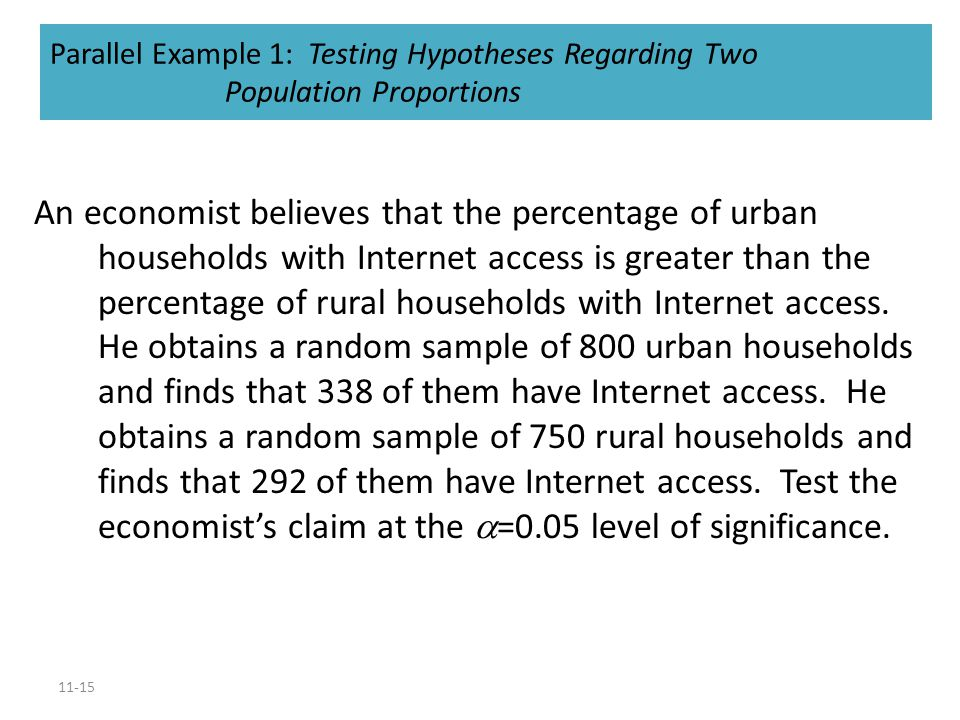 Parallel Example 1: Testing Hypotheses Regarding Two