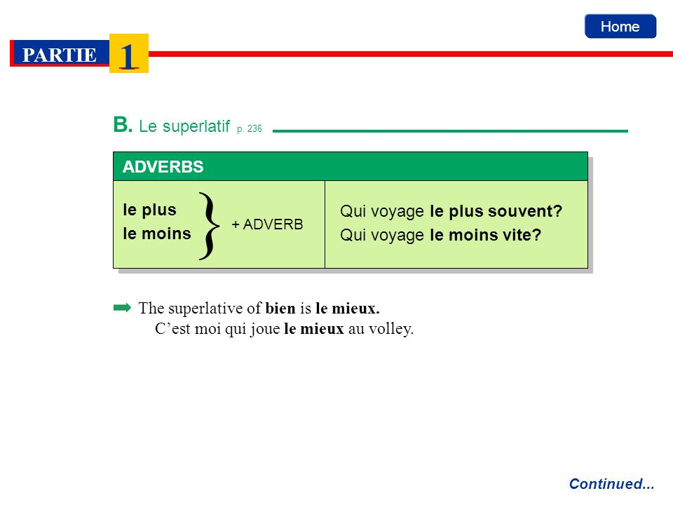 } B. Le superlatif p. 236 ADVERBS le plus Qui voyage le plus souvent