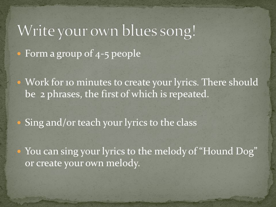 how to write your own song lyrics How to write your own xmas song by ricki hurtado december 17,  here's a list of items you must include in your lyrics:  write your own comment.