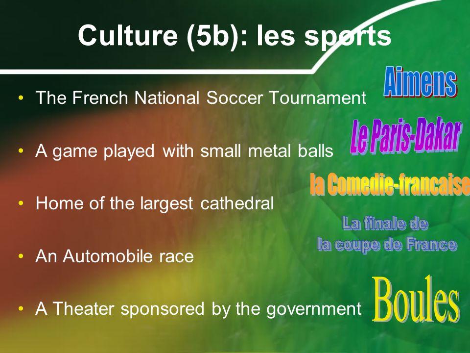 Culture (5b): les sports