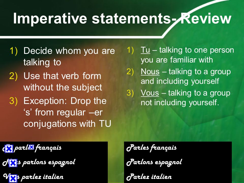 Imperative statements- Review