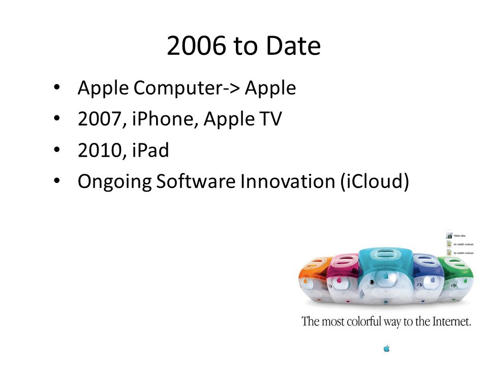 2006 to Date Apple Computer-> Apple 2007, iPhone, Apple TV