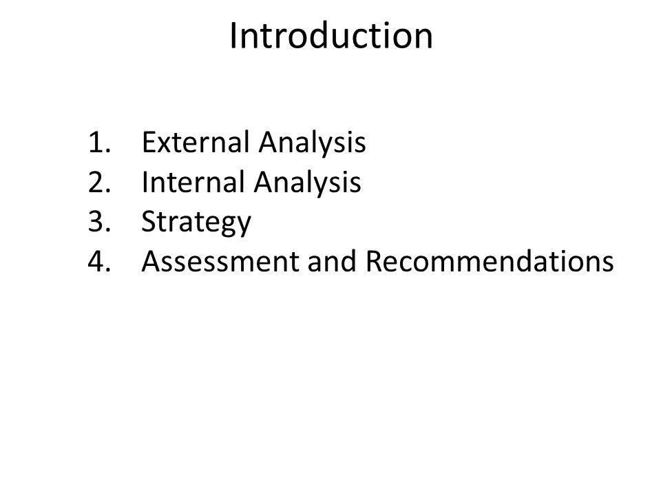 Introduction External Analysis Internal Analysis Strategy