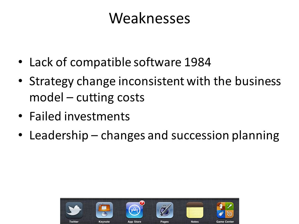 Weaknesses Lack of compatible software 1984