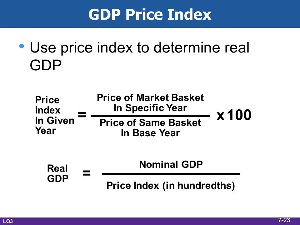 Use price index to determine real GDP
