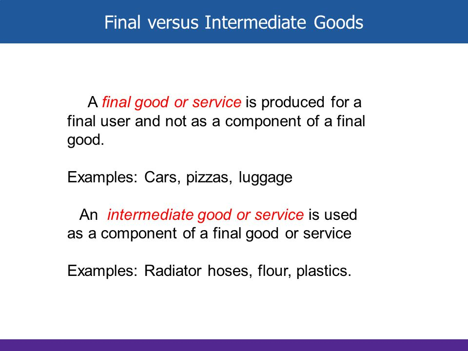 Final versus Intermediate Goods