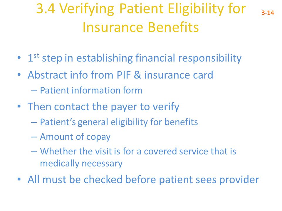 3.4 Verifying Patient Eligibility for Insurance Benefits
