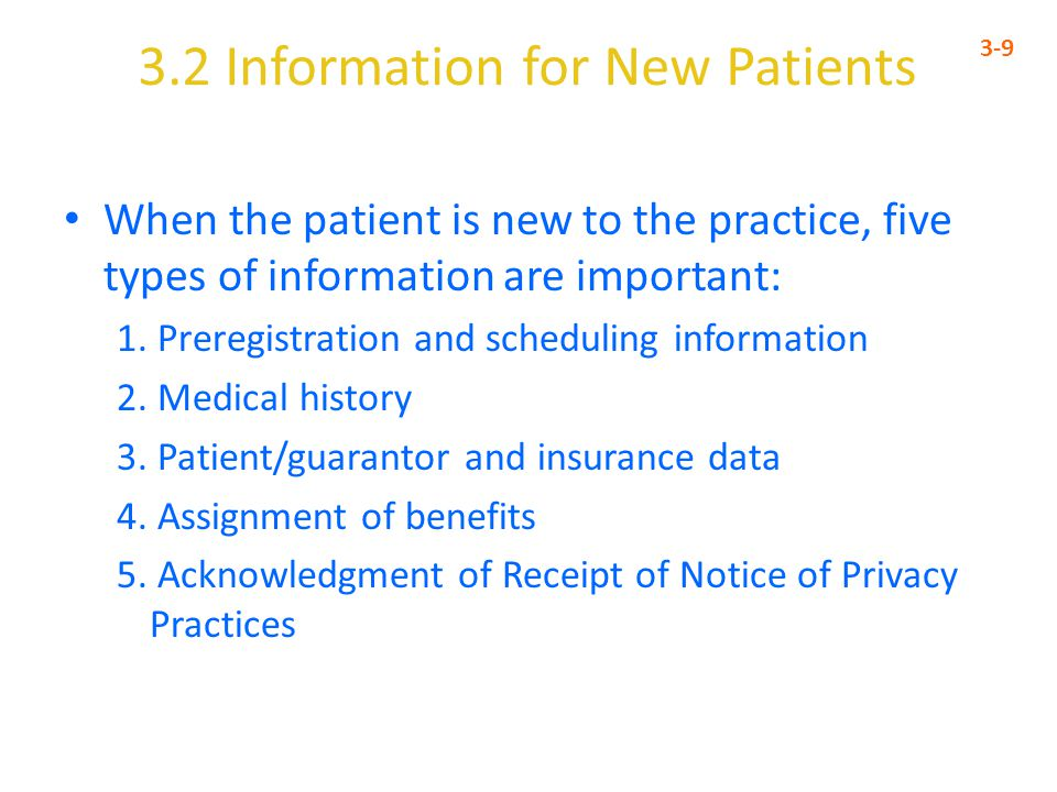 3.2 Information for New Patients