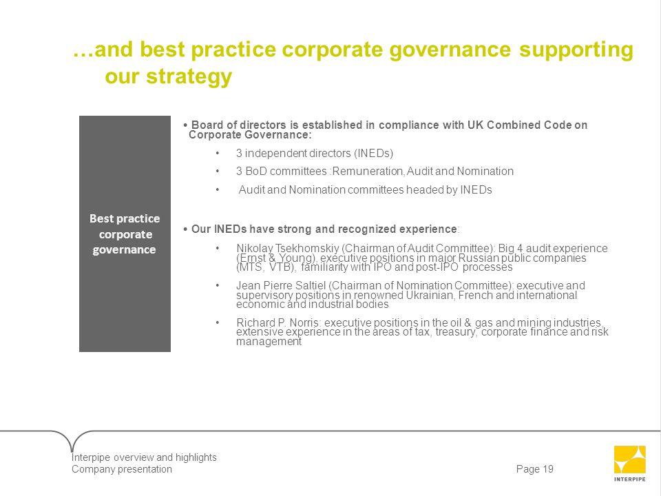 Best practice corporate governance