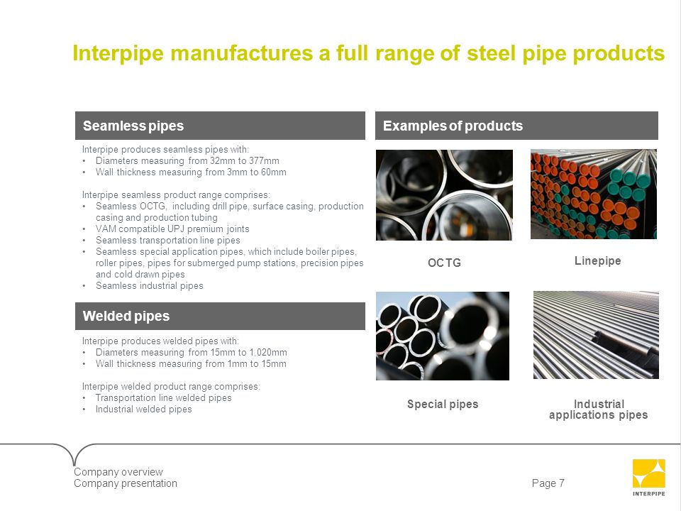 Interpipe manufactures a full range of steel pipe products