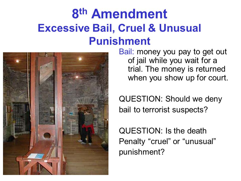 8th Amendment Excessive Bail