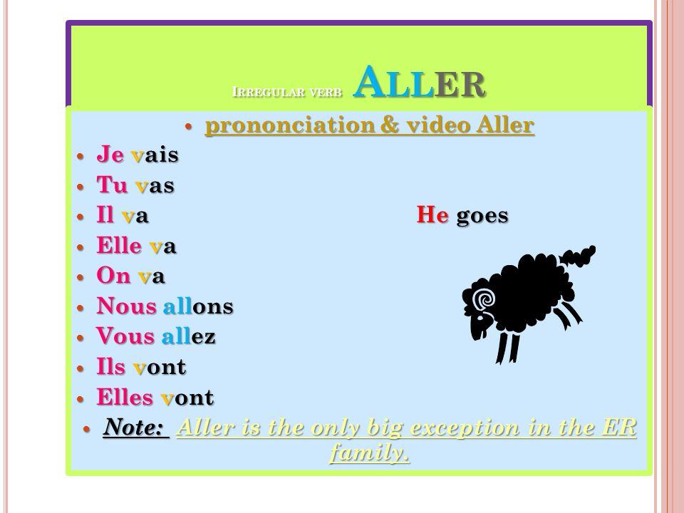 prononciation & video Aller Je vais Tu vas Il va He goes Elle va On va