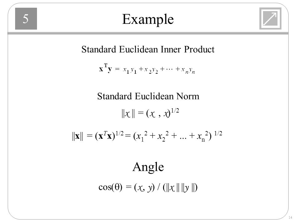 Example Angle Standard Euclidean Inner Product Standard Euclidean Norm