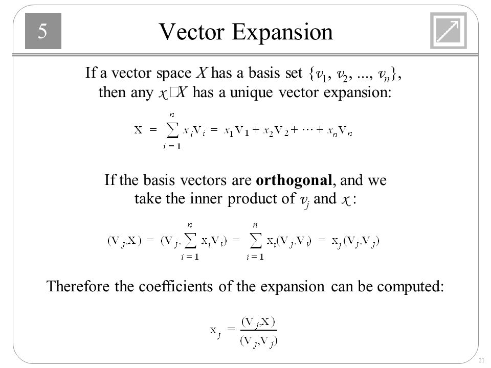 Vector Expansion If a vector space X has a basis set {v1, v2, ..., vn}, then any x ÎX has a unique vector expansion:
