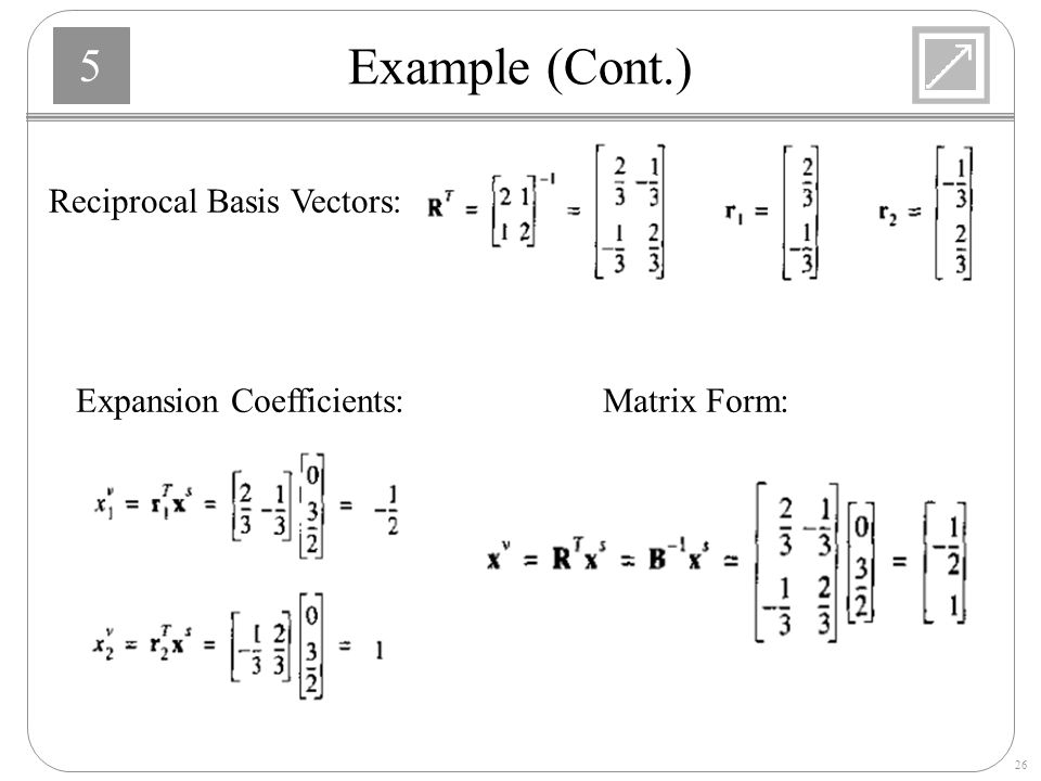 Example (Cont.) Reciprocal Basis Vectors: Expansion Coefficients: