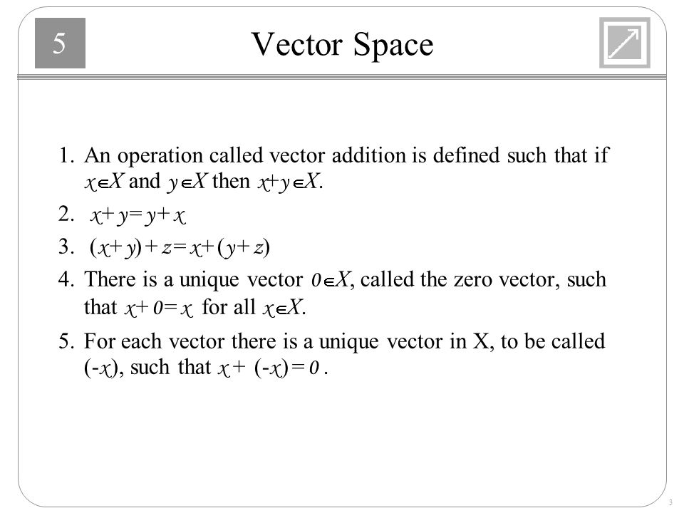 Vector Space 1. An operation called vector addition is defined such that if x Î X and y Î X then x+y Î X.
