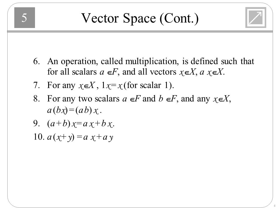 Vector Space (Cont.) 6. An operation, called multiplication, is defined such that for all scalars a Î F, and all vectors x Î X, a x Î X.