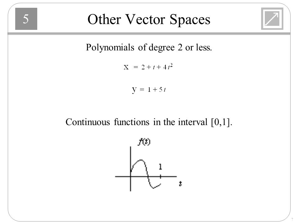 Other Vector Spaces Polynomials of degree 2 or less.