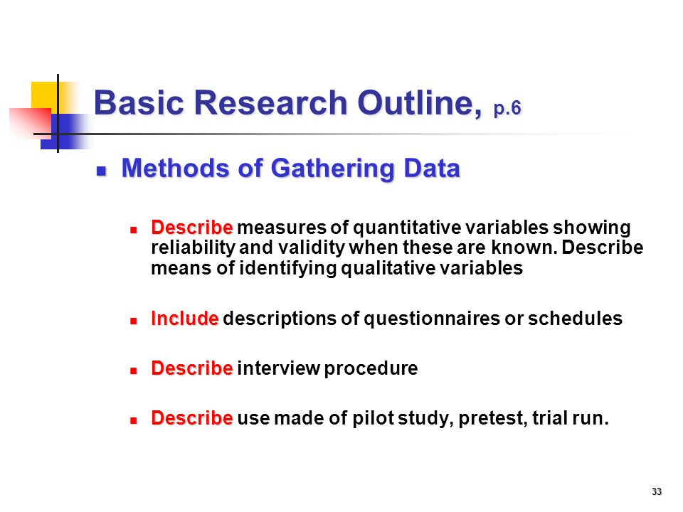 a outline a research study that measures Chapter 3 research design and methodology  ethical considerations and measures to provide  the empirical part of a research study involved the actual.