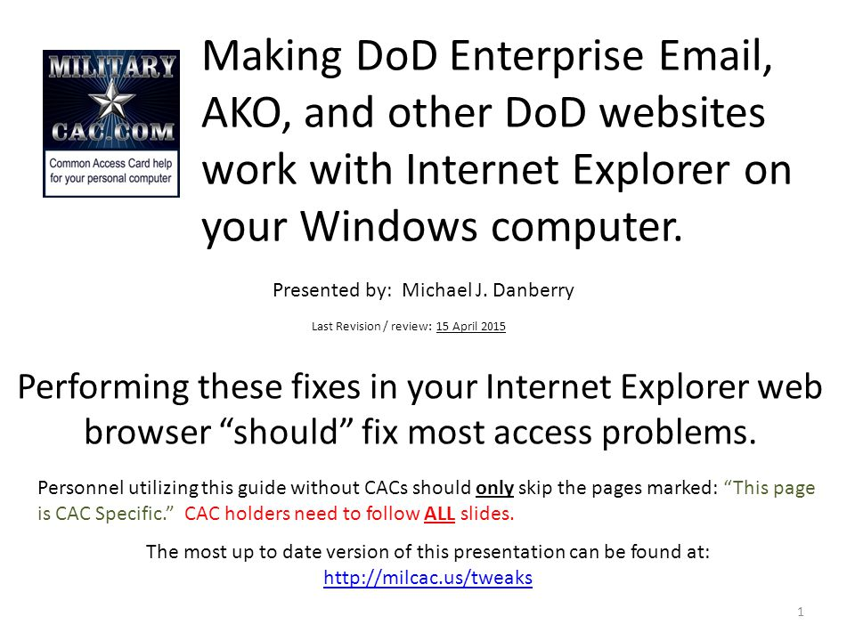 Making Dod Enterprise Ako And Other Dod Websites Work With