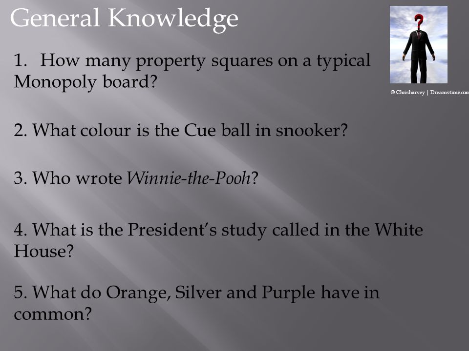 General Knowledge How many property squares on a typical