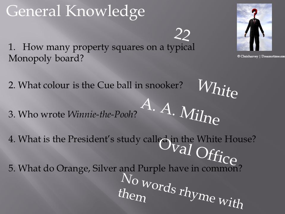 General Knowledge 22 White A. A. Milne Oval Office