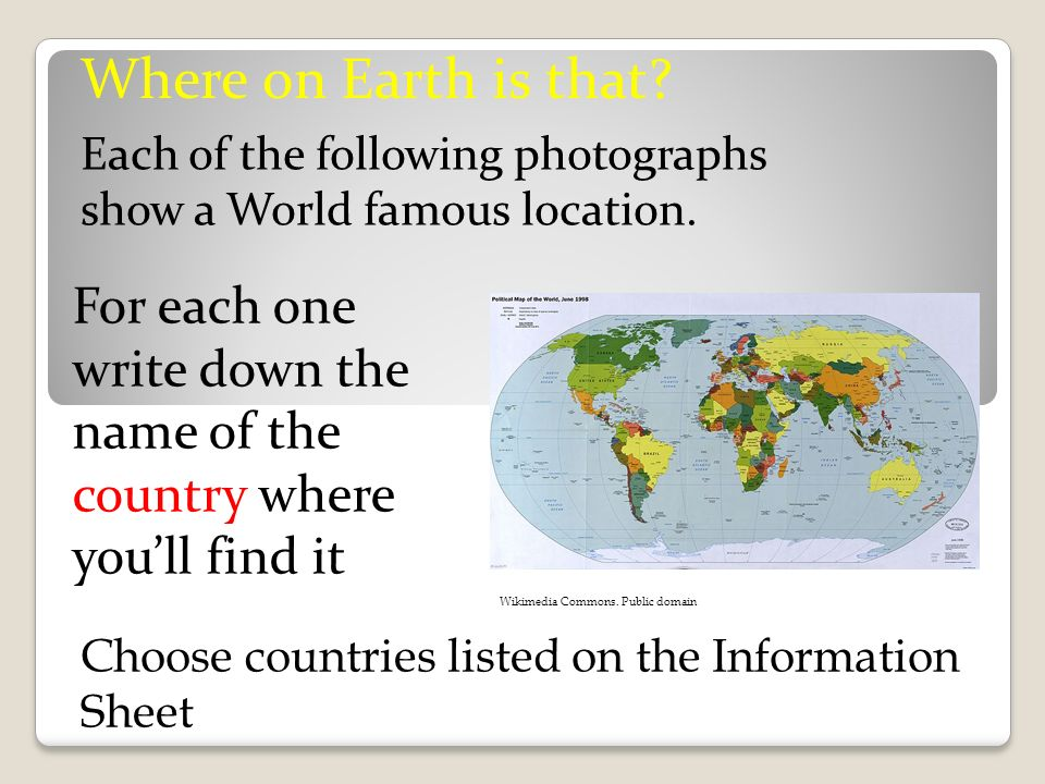 Where on Earth is that Each of the following photographs show a World famous location.