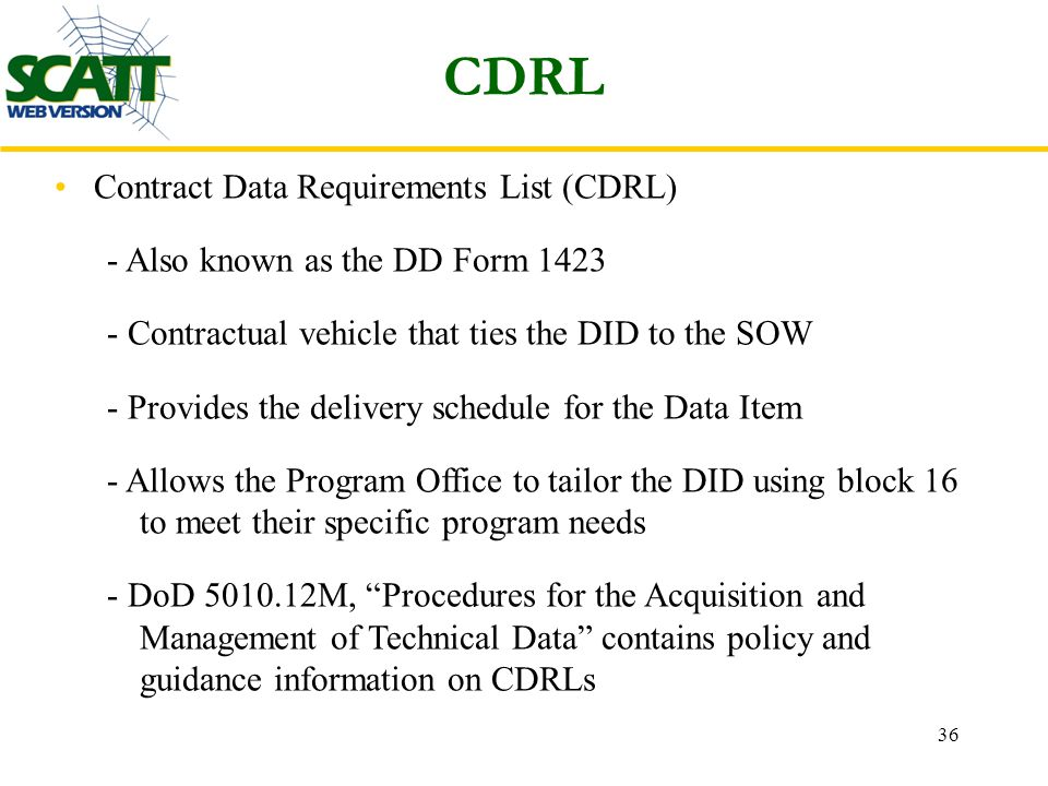 Statement of work CDRL, And Tracking Tool (SCATT) Mr. Jeremy Cucco ...