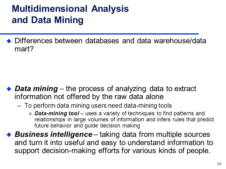 relationship between data mining and warehousing