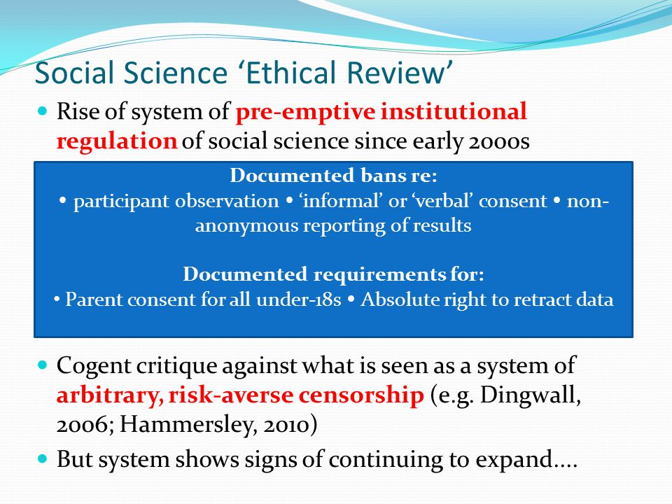 Social Science 'Ethical Review'