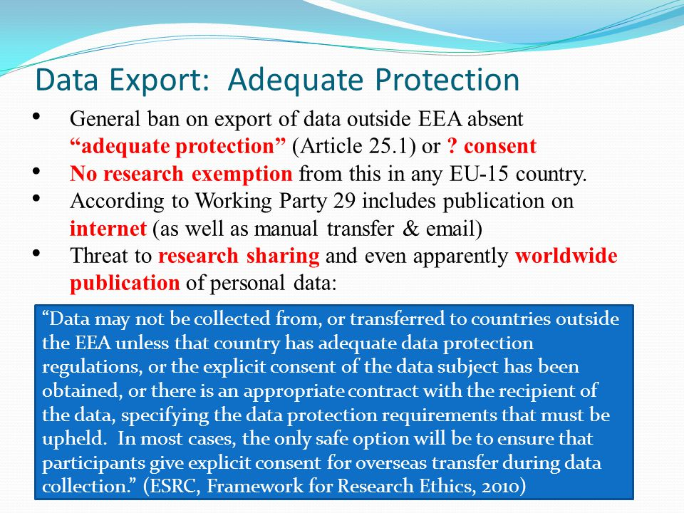 Data Export: Adequate Protection