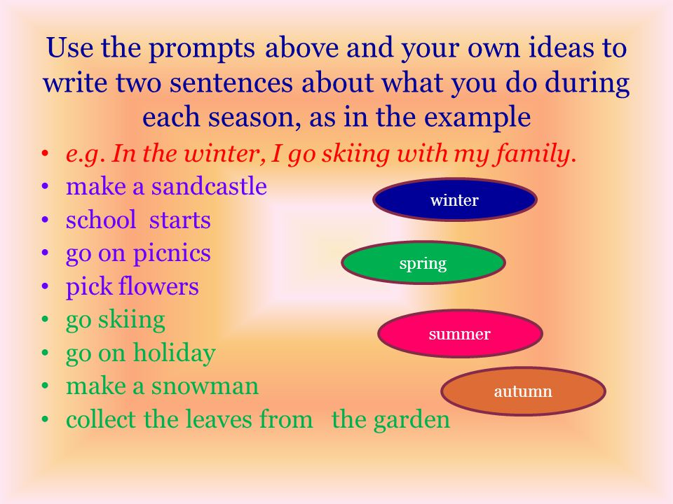 Use the prompts above and your own ideas to write two sentences about what you do during each season, as in the example