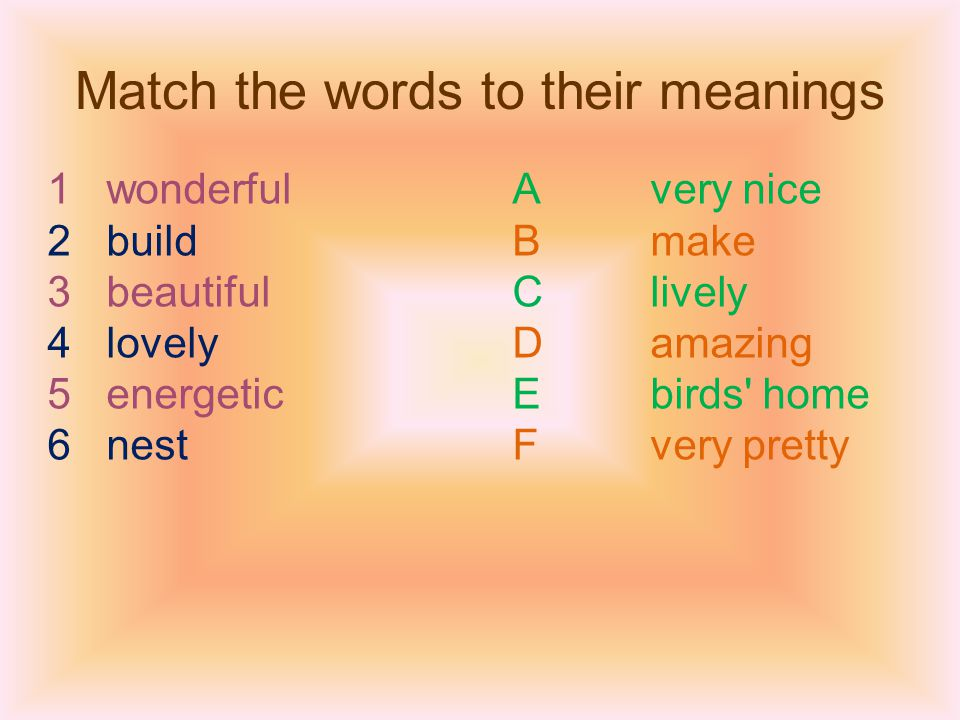 Match the words to their meanings