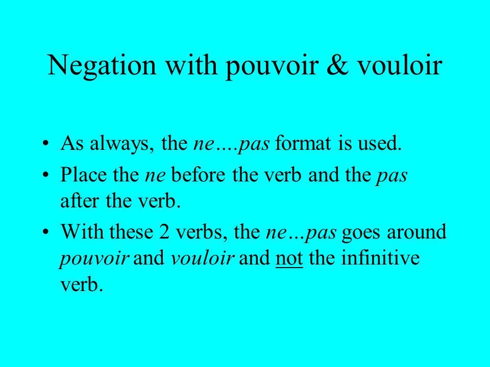 Negation with pouvoir & vouloir