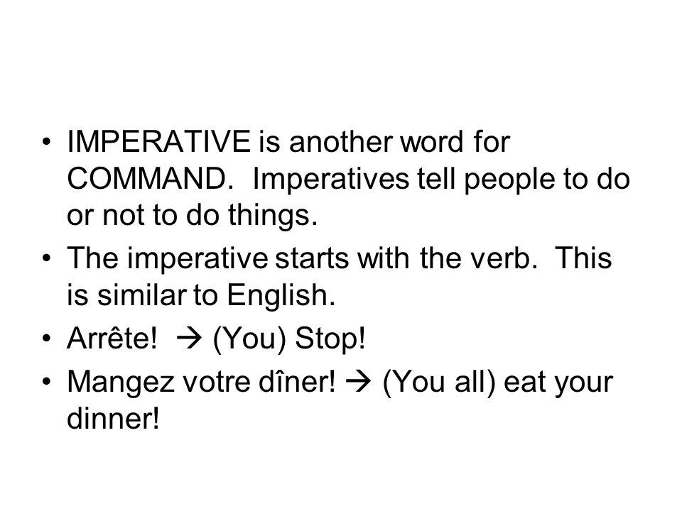 IMPERATIVE is another word for COMMAND