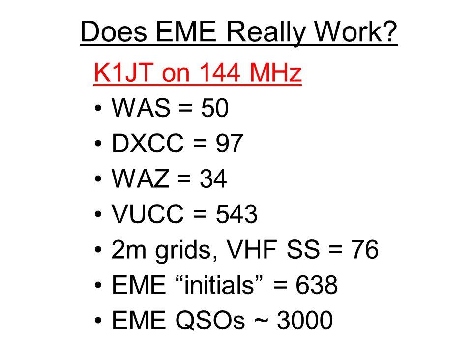 Does EME Really Work K1JT on 144 MHz WAS = 50 DXCC = 97 WAZ = 34