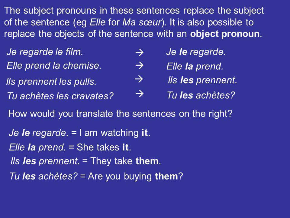 The subject pronouns in these sentences replace the subject
