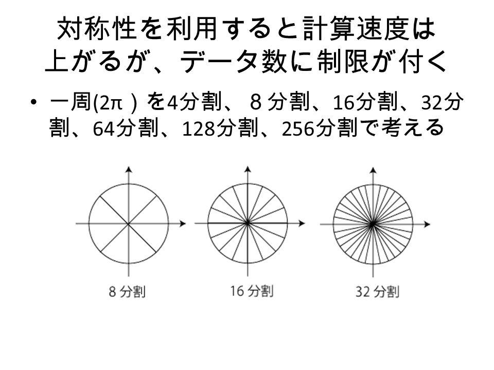 対称性を利用すると計算速度は 上がるが、データ数に制限が付く