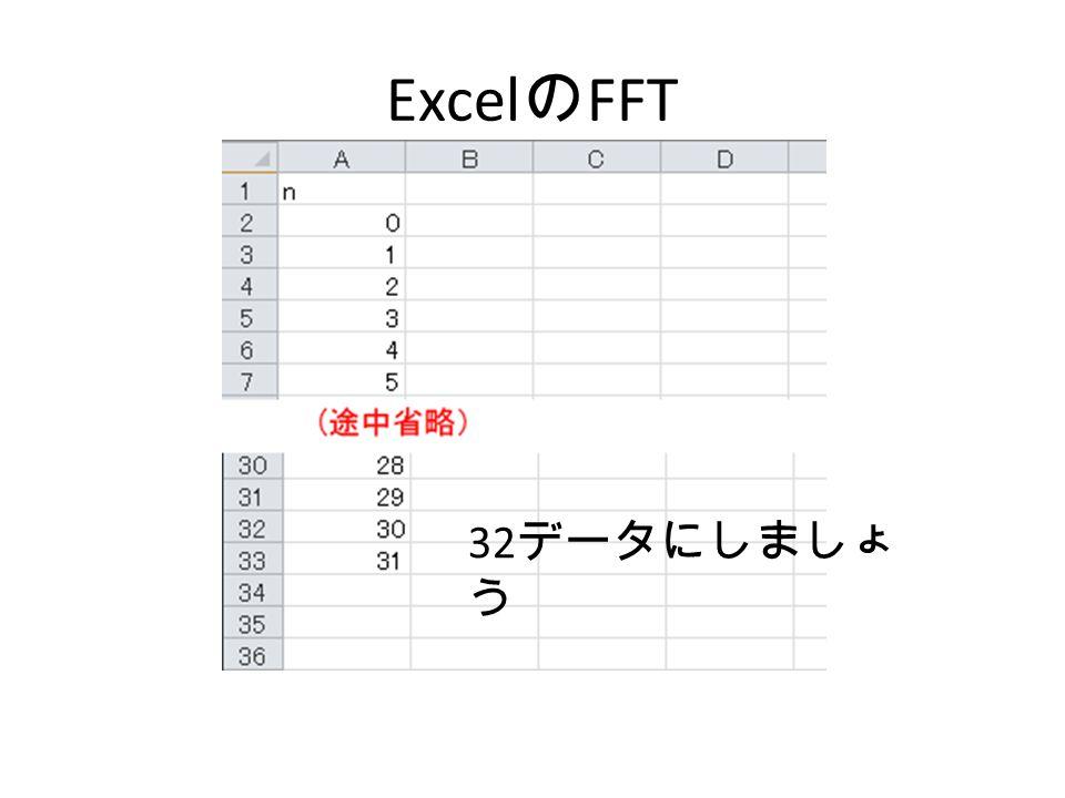 ExcelのFFT 32データにしましょう