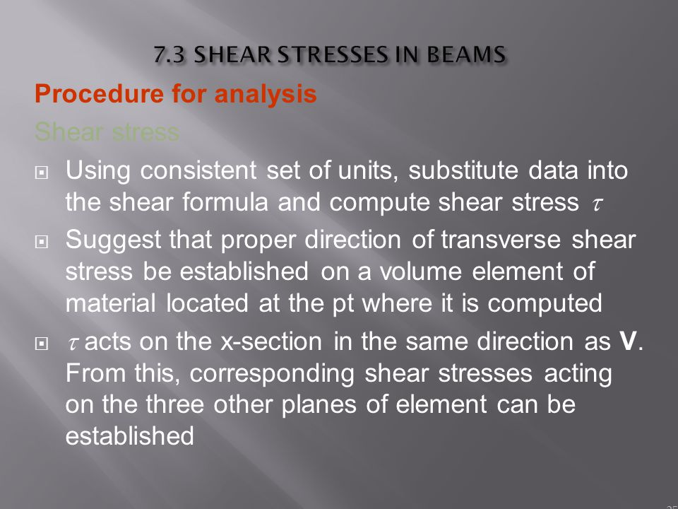 7.3 SHEAR STRESSES IN BEAMS