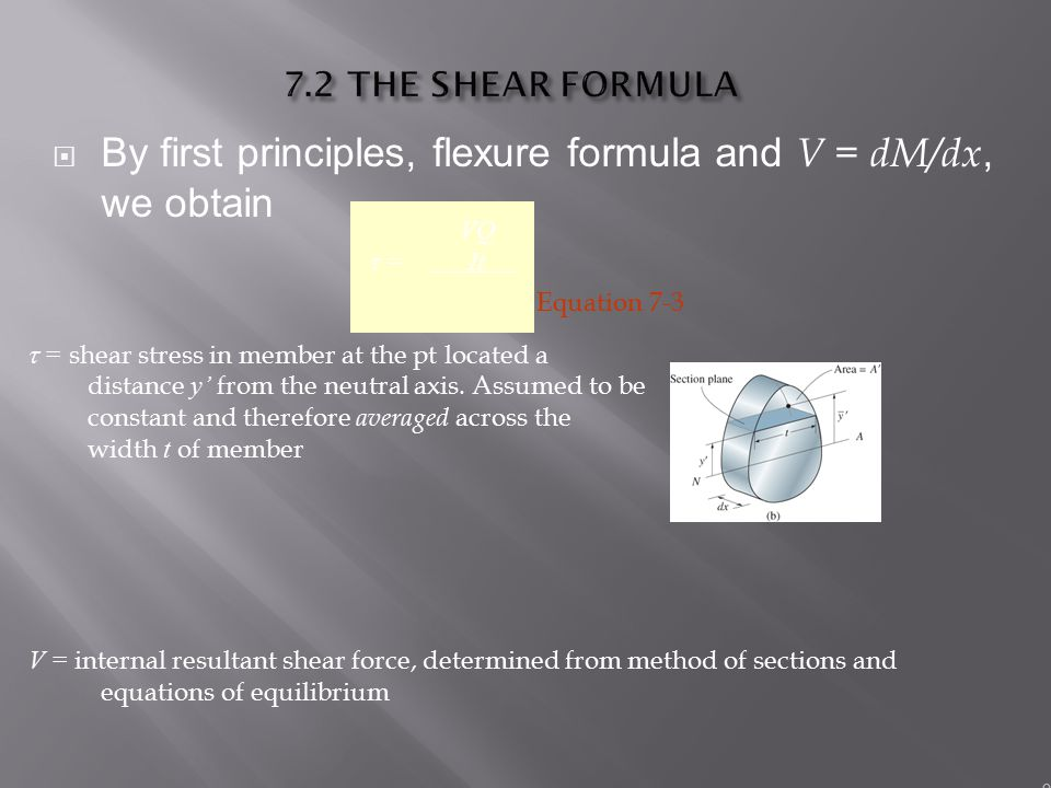 By first principles, flexure formula and V = dM/dx, we obtain