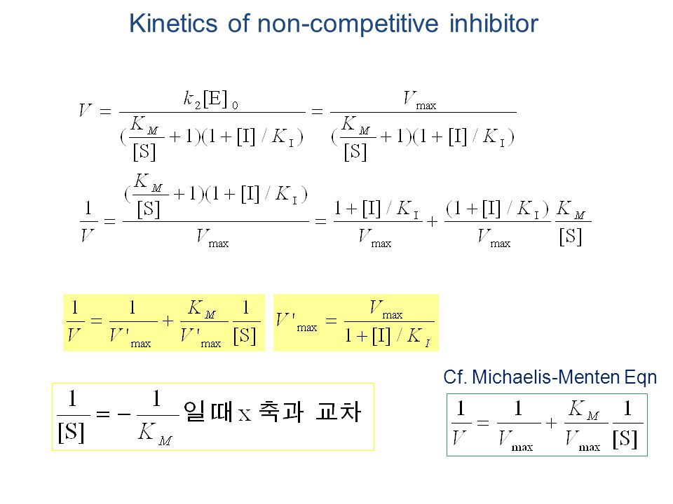 Kinetics of non-competitive inhibitor