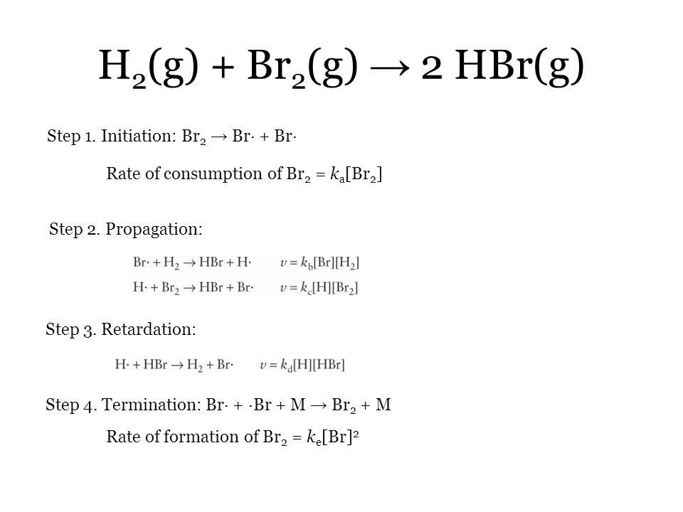 H2(g) + Br2(g) → 2 HBr(g) Step 1. Initiation: Br2 → Br· + Br·