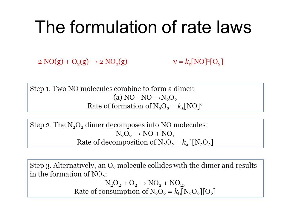 The formulation of rate laws