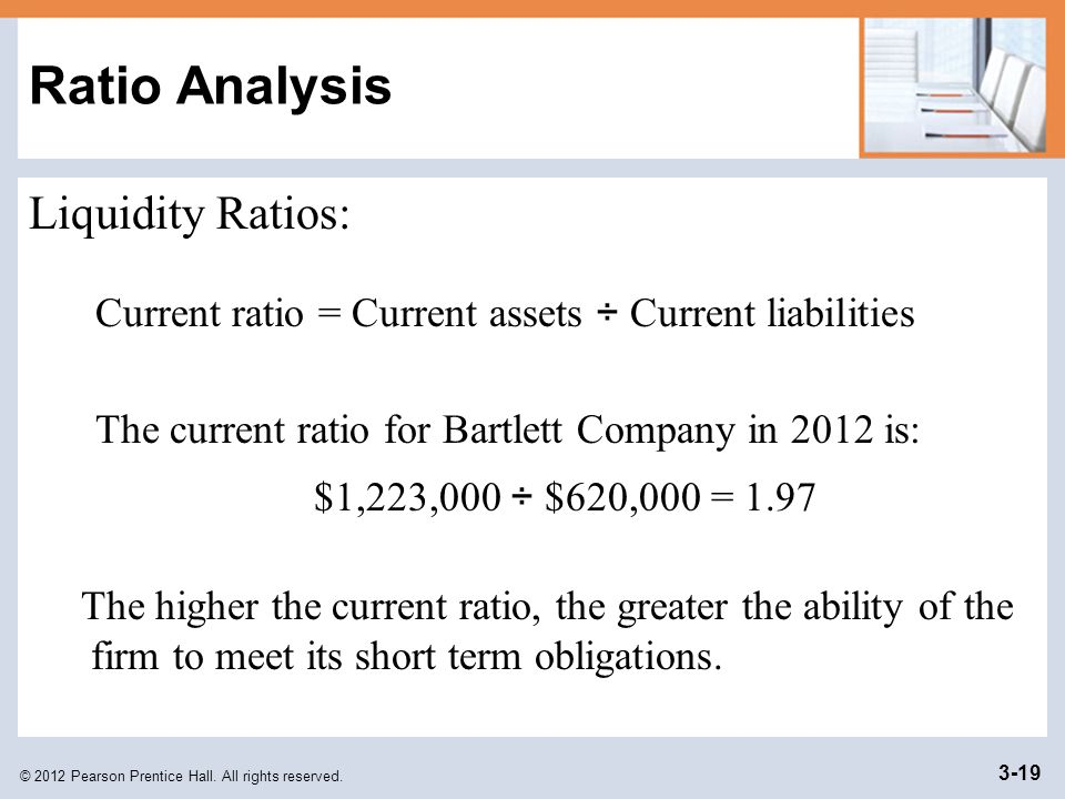 current ratio analysis A current ratio shows your present financial strength it represents how many  times bigger your current assets are compared to your current.