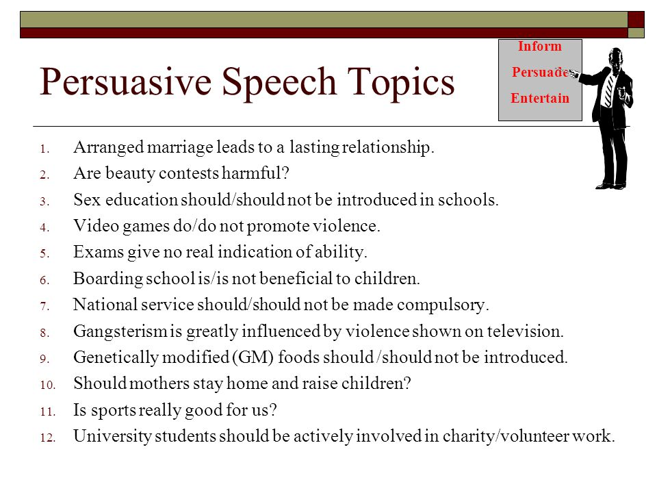 persuasive speech topics college Our persuasive essay and speech topics are designed to spark critical thinking and can be modified for students in elementary, middle and high school they are grouped by topic for easy student and teacher reference.