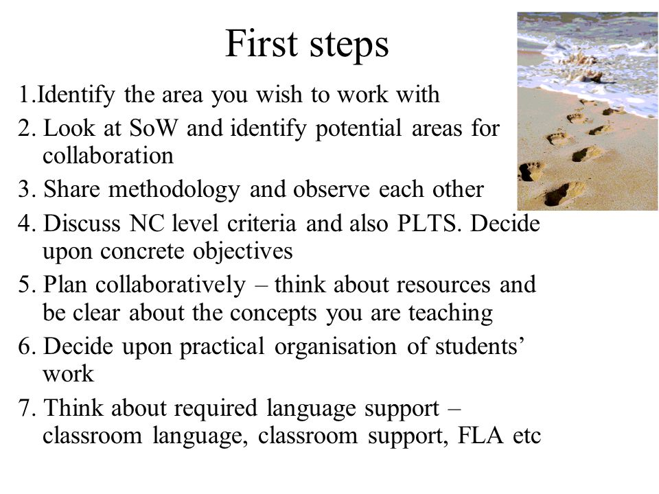 First steps 1.Identify the area you wish to work with