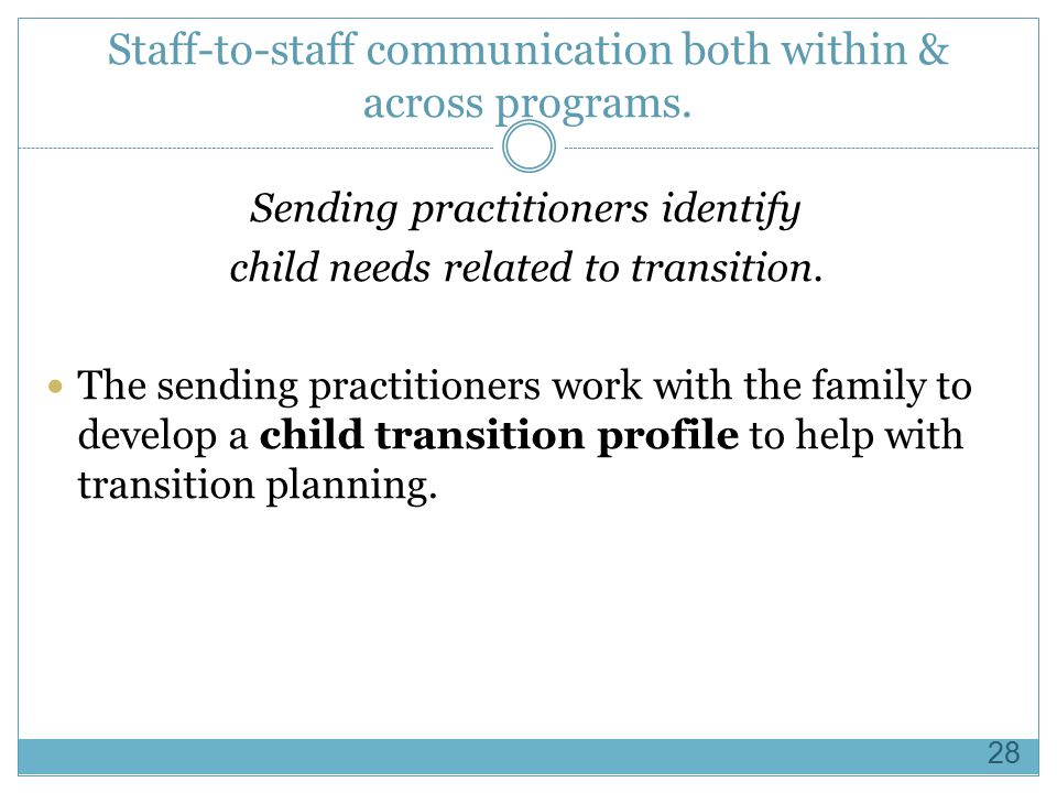 Staff-to-staff communication both within & across programs.