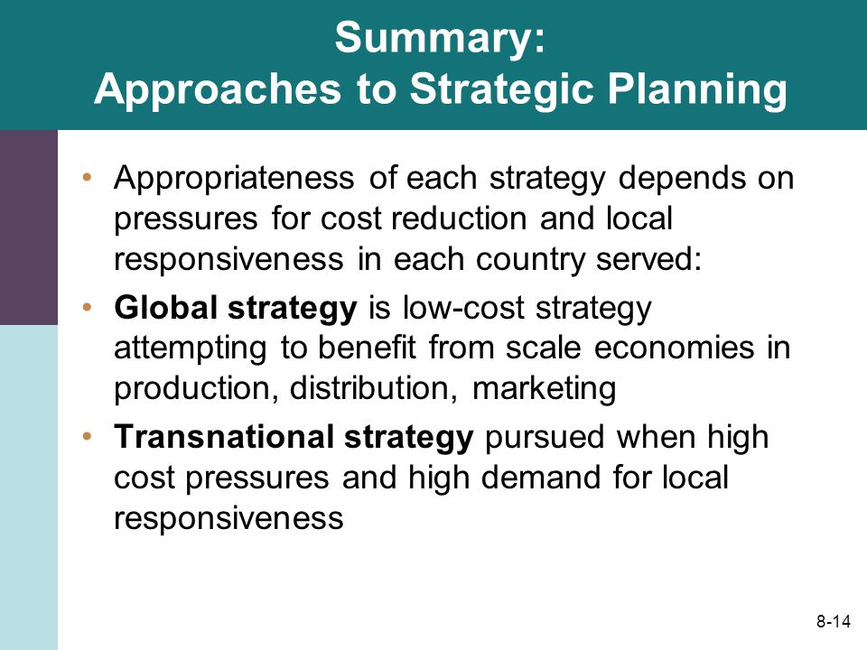 pressures of cost reduction local responsiveness As shown in figure 123, the appropriateness of each strategy depends on the relative strength of pressures for cost reductions and pressures for local responsiveness pressures for cost reduction and local responsivenes.